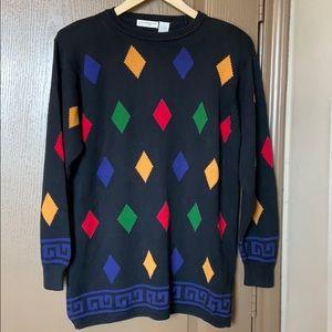 Liz Claiborne Retro Print Sweater, Size Large